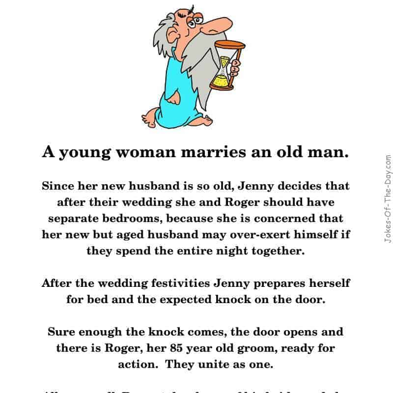 A young blonde marries an old man - long joke