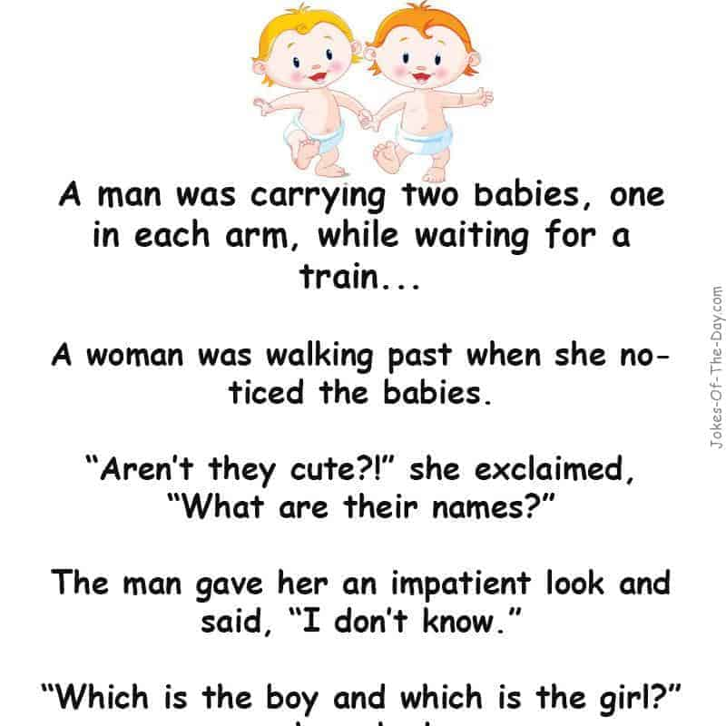 A woman sees a man with two babies and starts asking questions - funny story