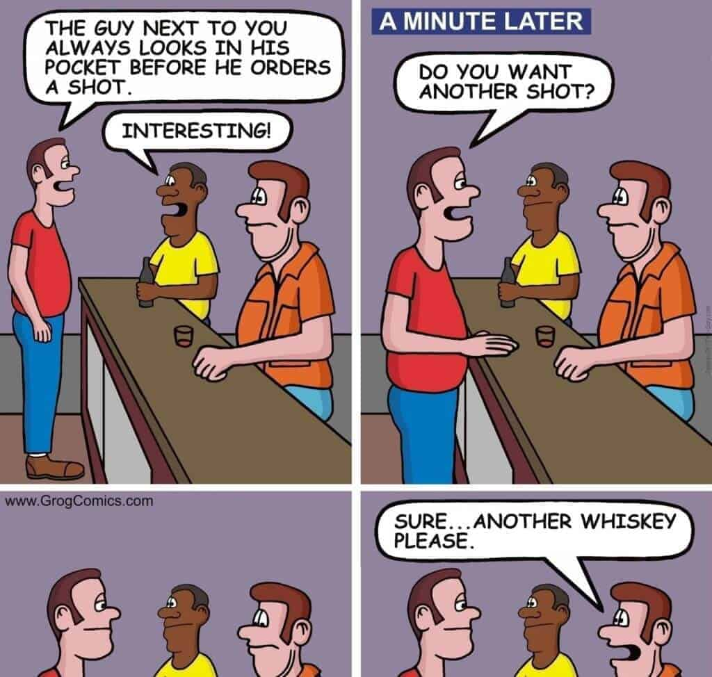 Funny joke about a man not going home until he drinks enough whiskey