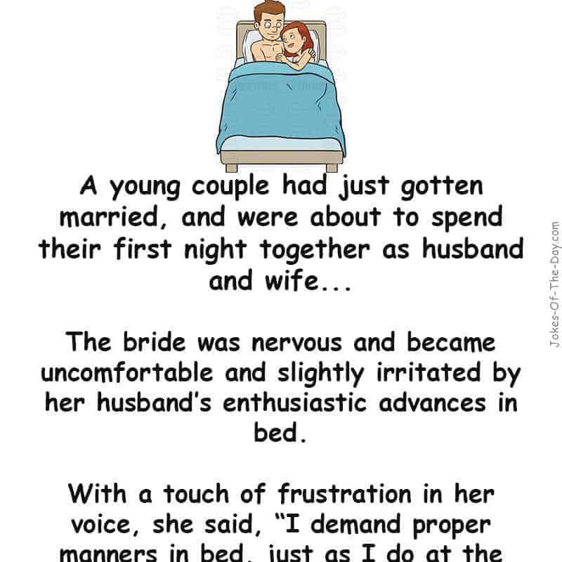 A nervous young bride became irritated by her husband - adult joke