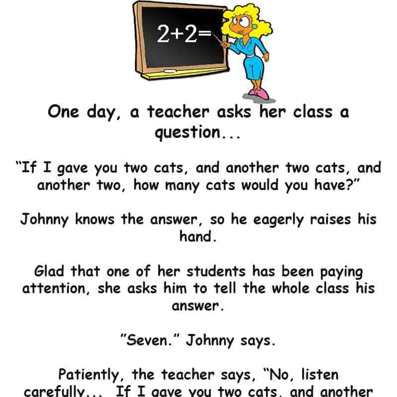 A teacher asks her class a math question - funny short story