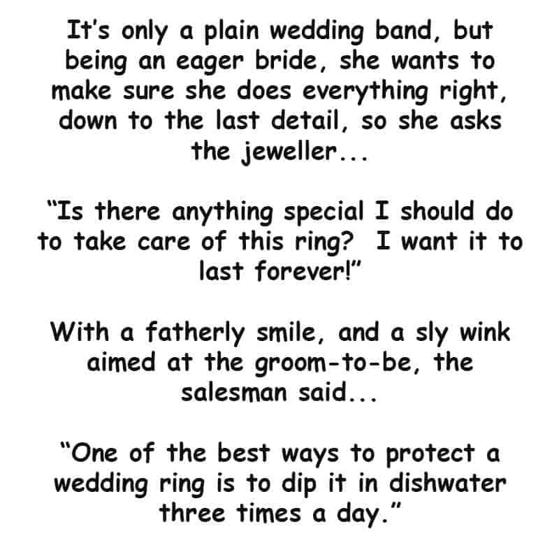 A couple are shopping for a wedding ring - latest joke