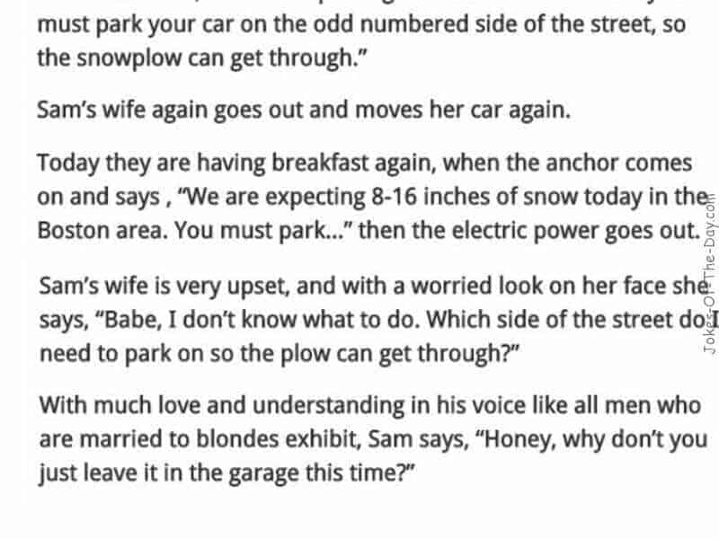 hilariously funny blonde car parking joke