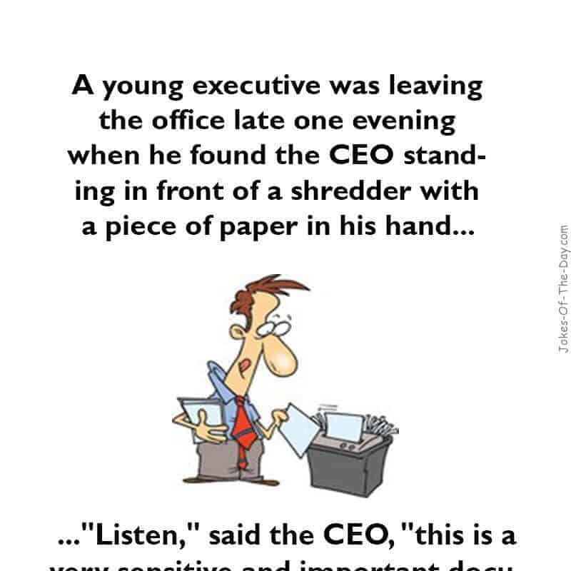 A Young Executive Was Leaving The Office Funny Joke