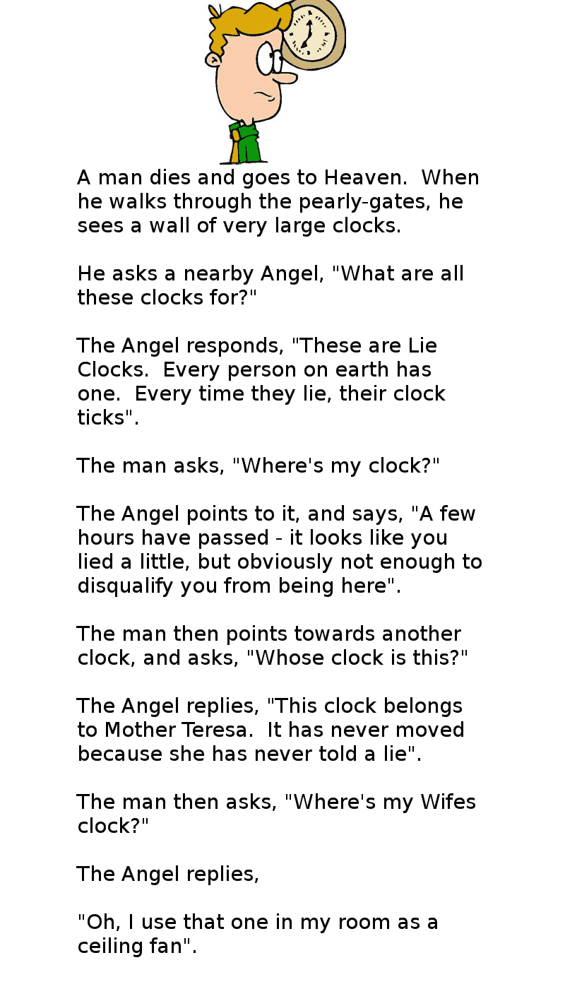 A man goes to heaven and sees a wall of clocks, and asks the Angel about them -funny husband joke
