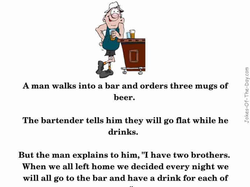 A man walkins into a bar and orders threee mugs of beer - funny joke