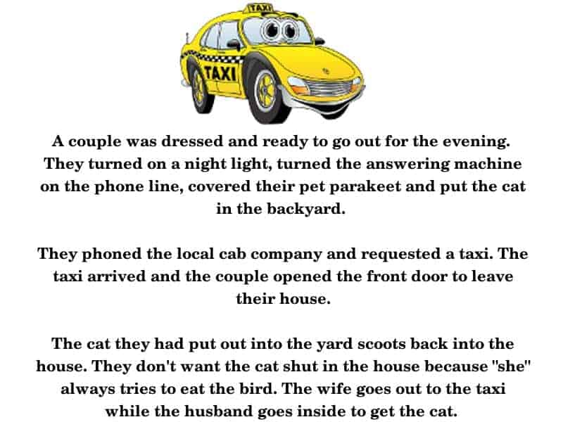 Man and Woman horrify a Taxi-cab driver -funny joke