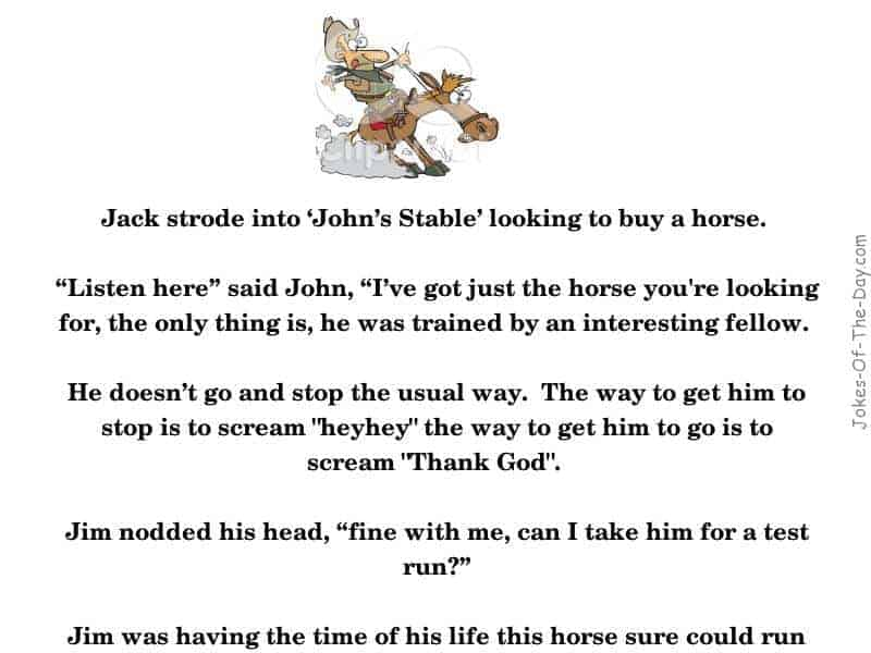 A man looking to buy a horse takes it for a test ride, and forgets how to make it stop -funny joke