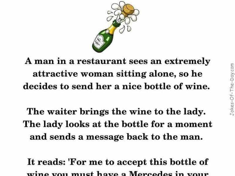 A man at a restaurant sends a woman a bottle of wine - funny joke