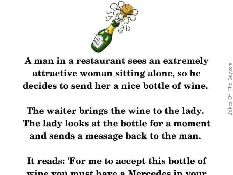 A man at a restaurant sends a woman a bottle of wine - funny joke