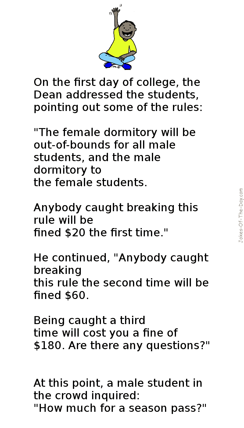 The Cheeky Student enquires about the Dorms rules -funny joke