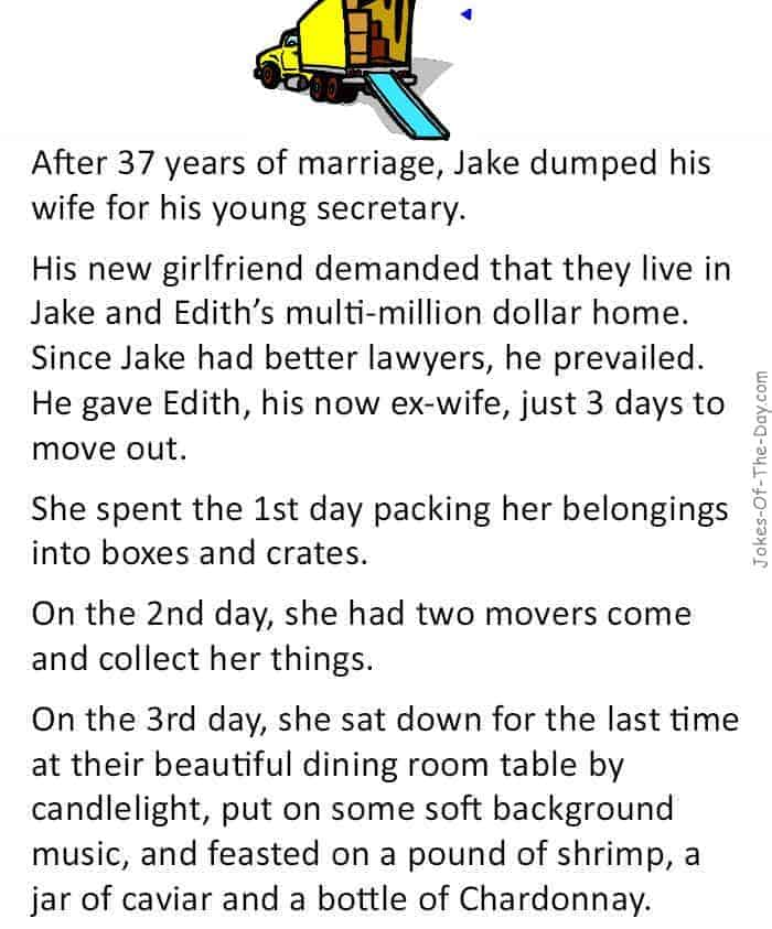 A man leaves his wife for his secretary, but the wife has the last laugh