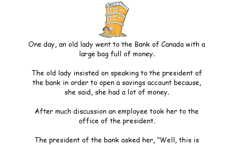 Lady goes to bank and makes a bet - Silly Joke