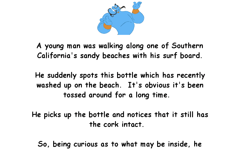 Man Walking On Beach Finds A Bottle With A Genie Funny Joke About Women