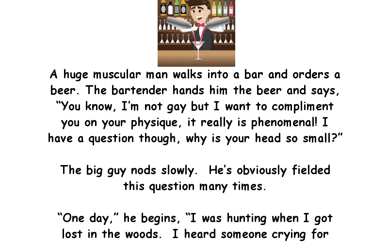 Muscular Man With A Tiny Head Goes Into A Bar Adult Joke