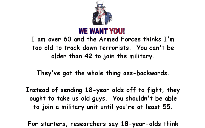 Drafting Over 60's For The Army Funny Long Joke