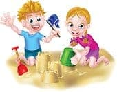 Boy And Girl In Sandbox Cartoon