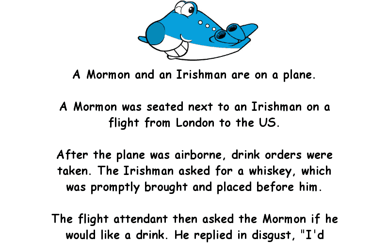 An Irishman And A Mormon Were On A Plane Funny Adult Joke Of The Day
