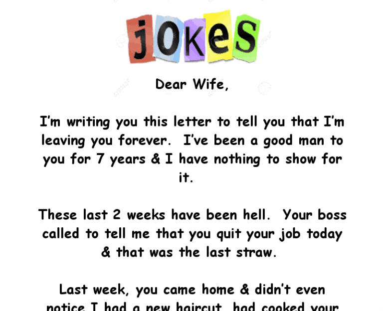 A man writes a letter to his wife - her reply is priceless - funny clean joke of the day