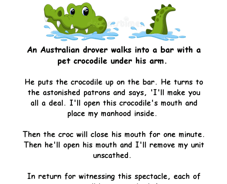 An australian man takes a crocodile into a bar - adult funny joke of the day