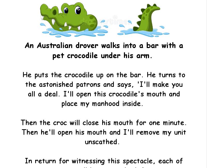 An australian man takes a crocodile into a bar - adult funny joke of the day