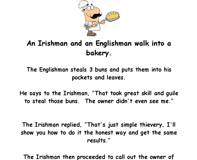 An irishman and englishman walk into a bakery - funny clean joke of the day