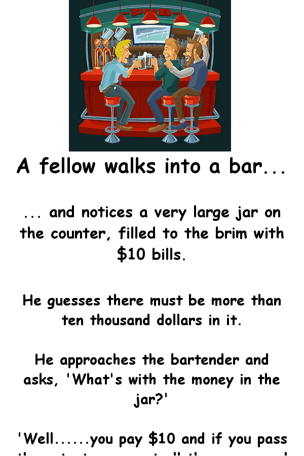 Dirty funny joke - a man makes the bartender a bet