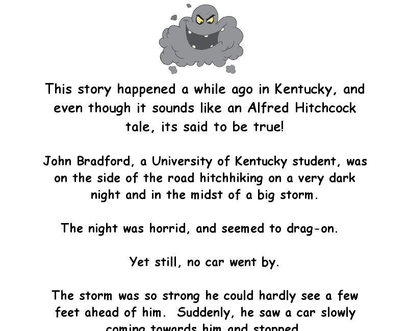 Funny scary clean joke about a man hitch-hiking in a storm
