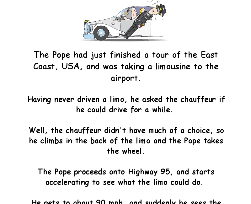 The pope gets pulled over for speeding - really funny clean joke of the day