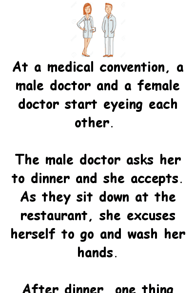Two doctors eye each other at a medical conference - funny joke
