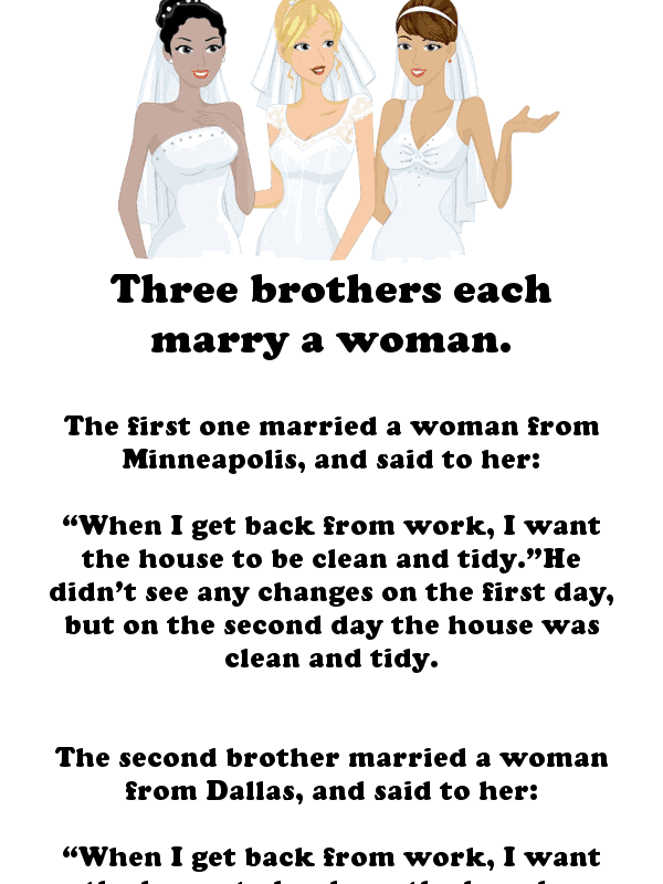 A clean joke about three brothers getting married