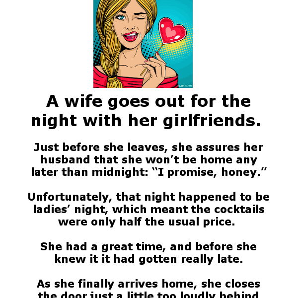 A woman comes home drunk - funny clean joke of the day