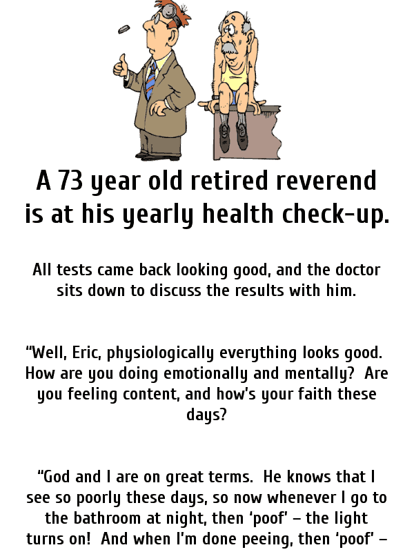 An old preacher goes to the doctor - funny clean joke of the day