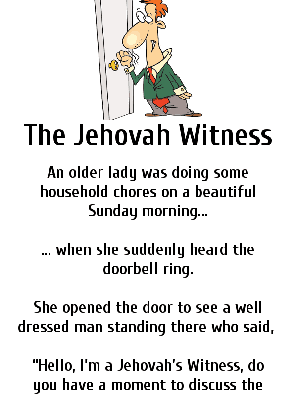 Clean funny joke - the jehovah witness