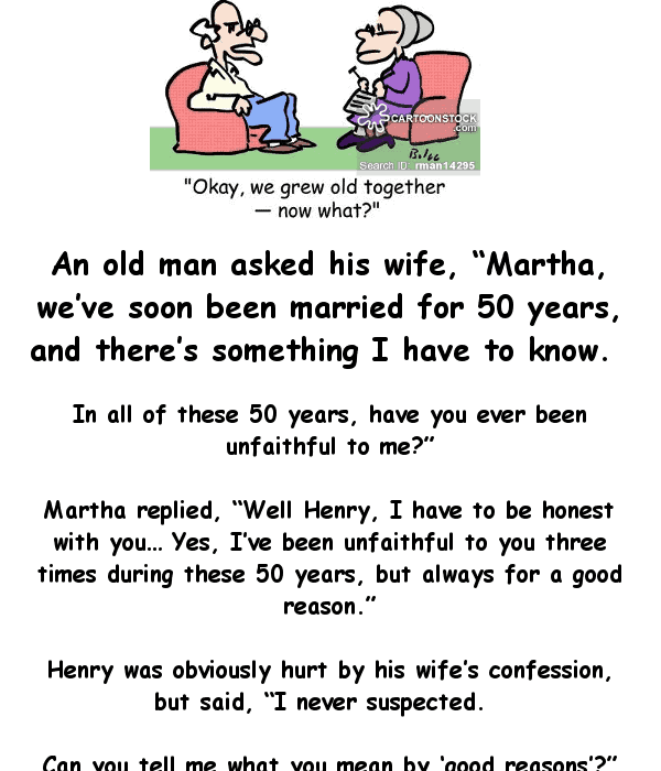 Funny joke of the day - an old man asks his wife if she has ever cheated on him