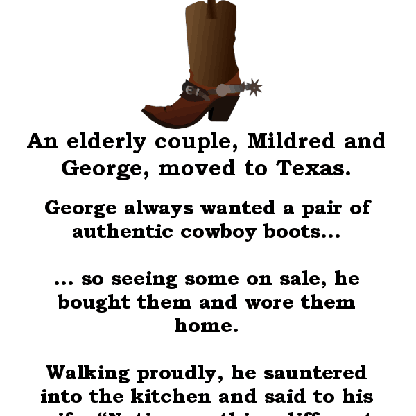 George gets a new pair of cowboy boots - funny joke of the day