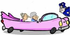 Old ladies in car cartoon