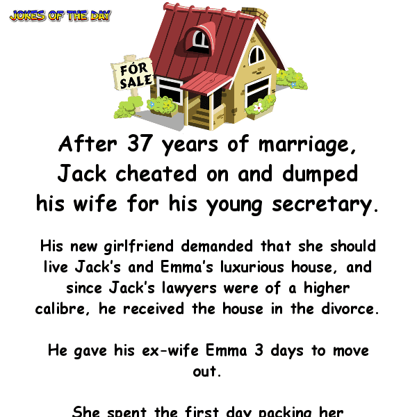 Man cheats on hise wife but her revenge is priceless - clean funny joke