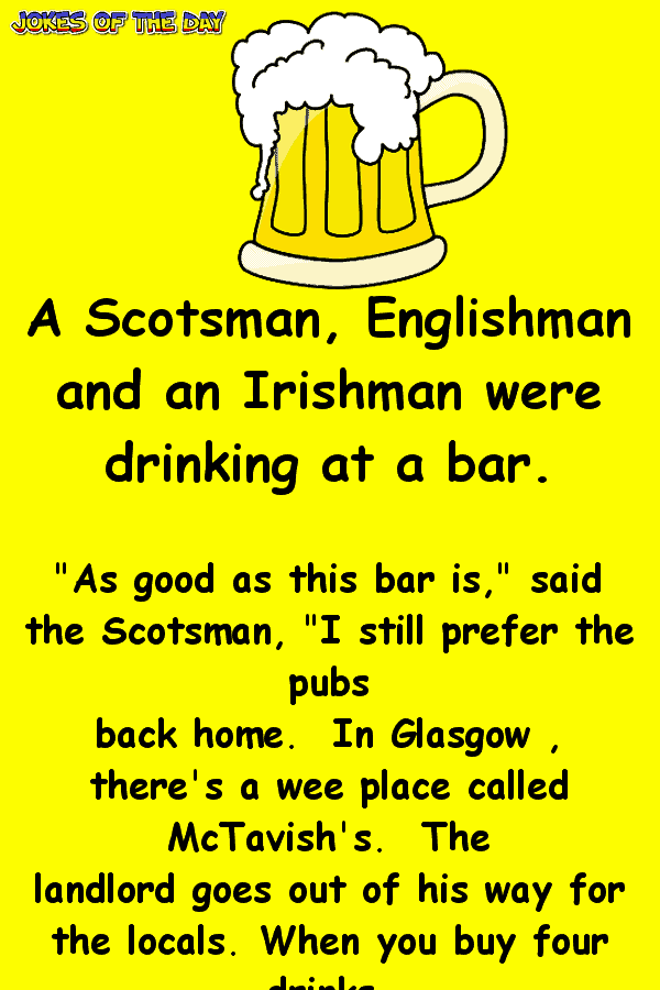 Three men discuss the best pub - funny bar joke