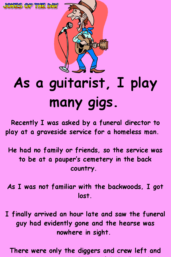 Clean Funny Joke - The guitarist gets lost on the way to his gig