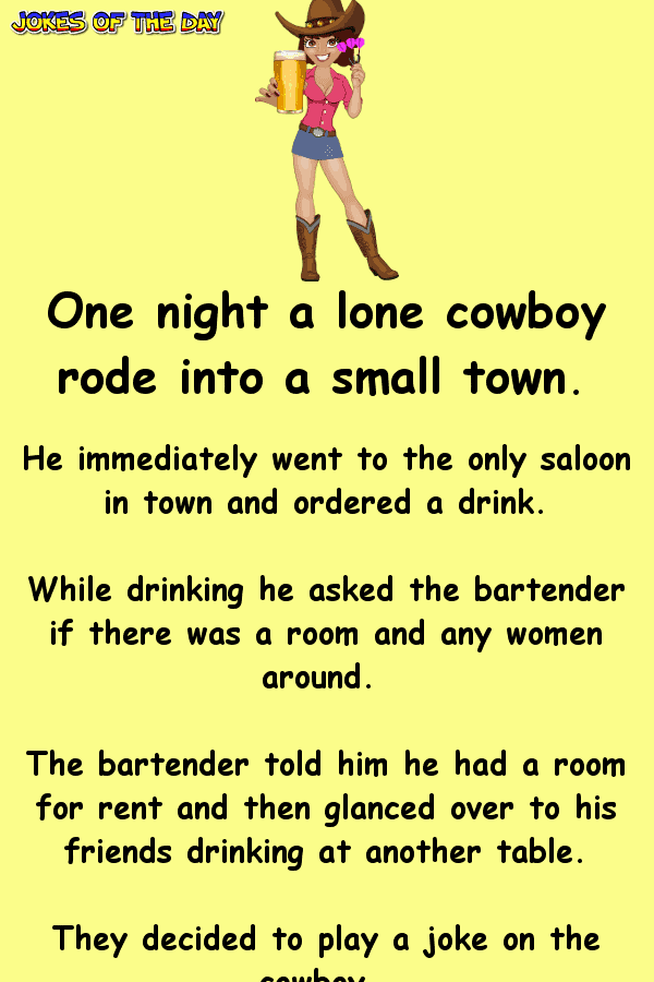 Funny Adult Joke - The bartender decides to play a trick on the cowboy