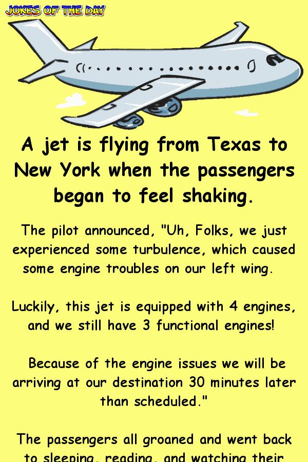 Funny Clean Airplane JokeThe captain announces that an engine has failed