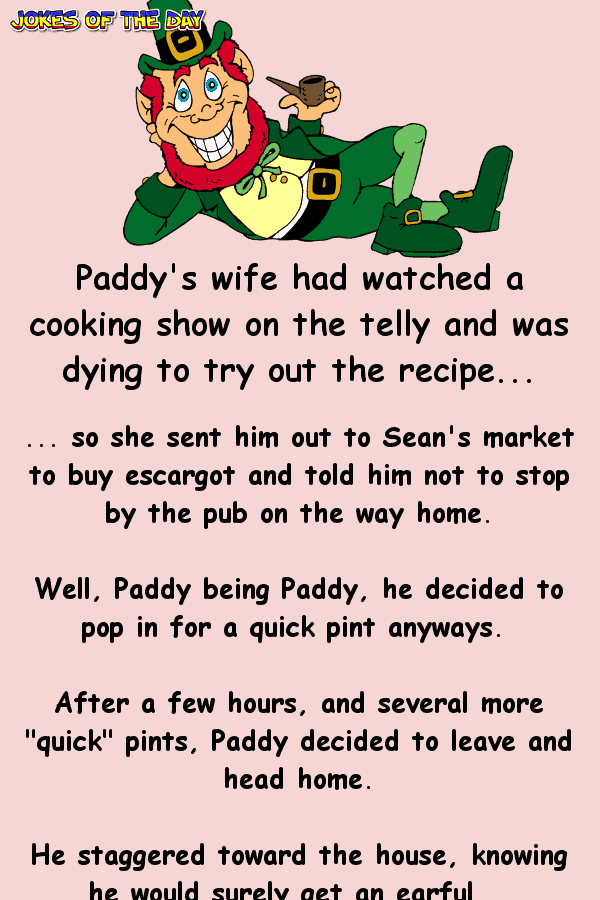 Funny Irish Joke - After having a few pints too many, Paddy heads home