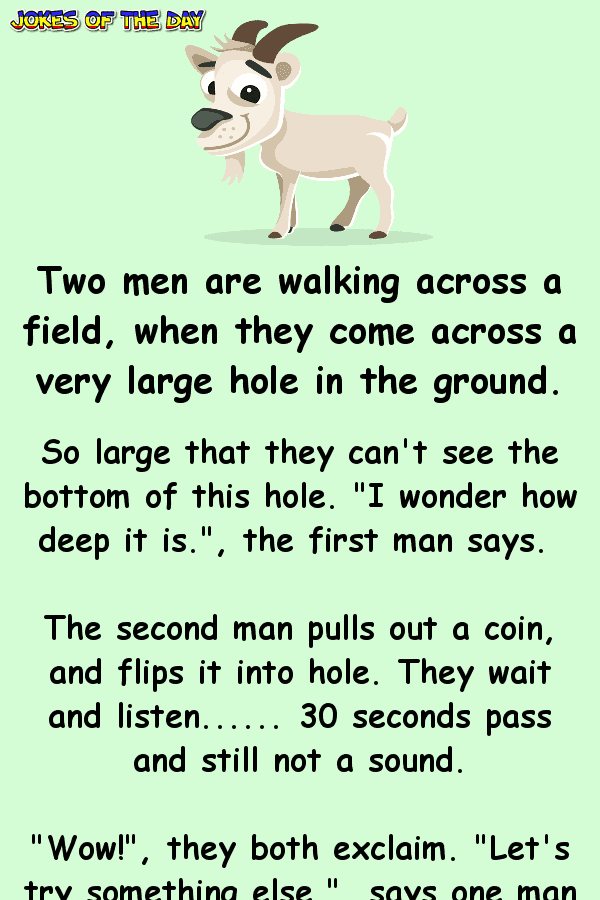 Two men are walking across a field, when they come across a very large hole in the ground