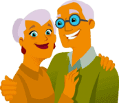 Old couple cartoon