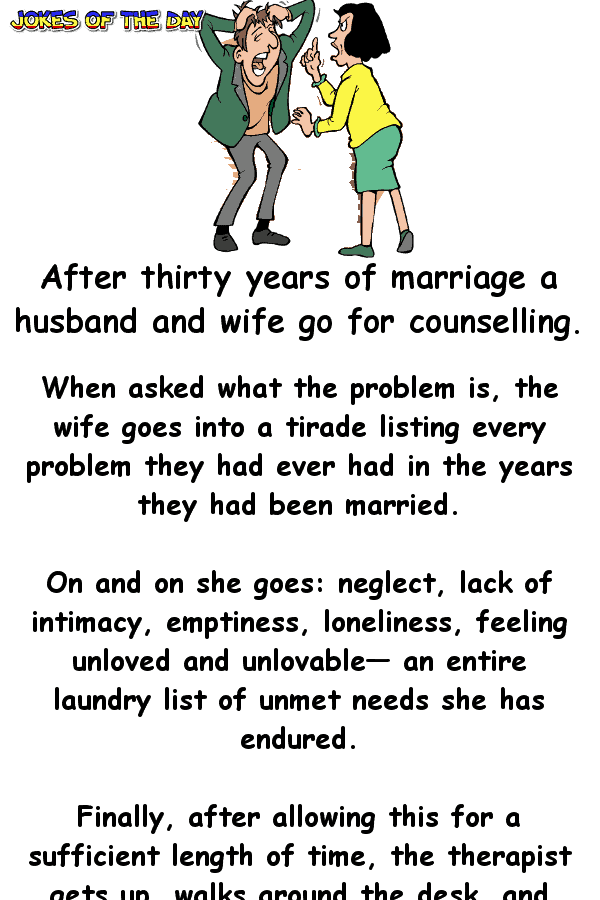 Funny Joke - A husband and wife go to counselling - but the husband didn't expect this to happen!