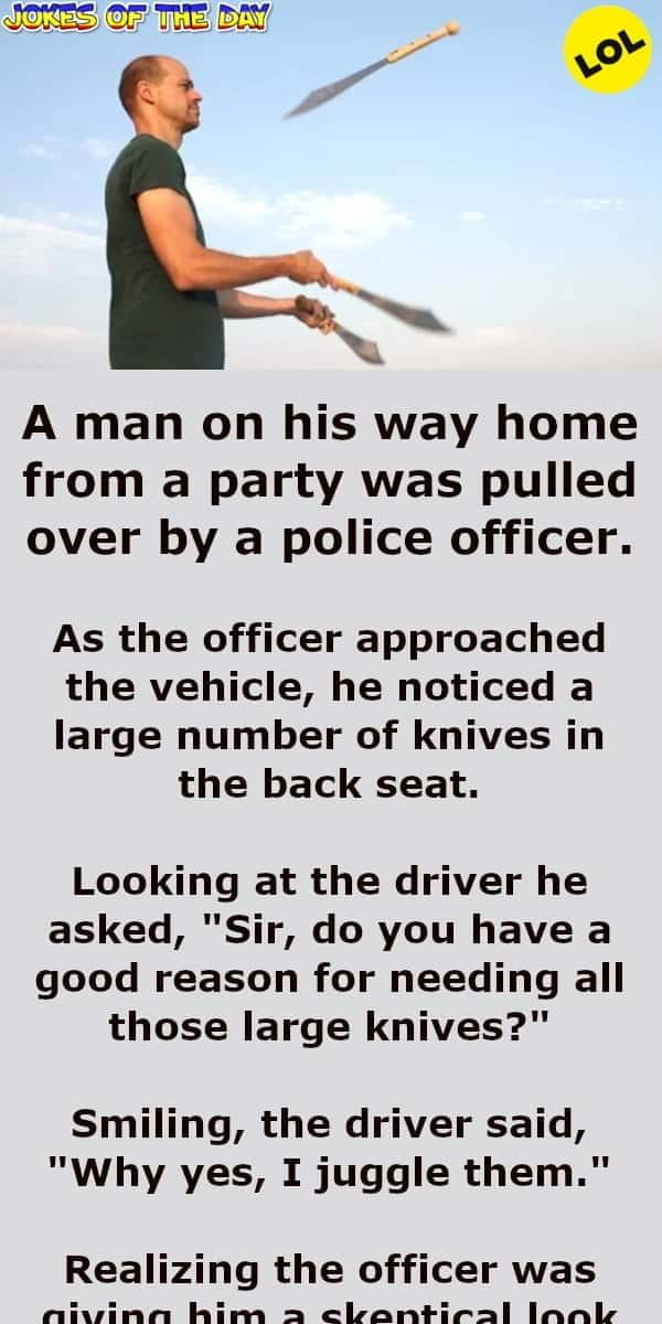 A man on his way home from a party was pulled over by a police officer - Funny Joke - Jokesoftheday com